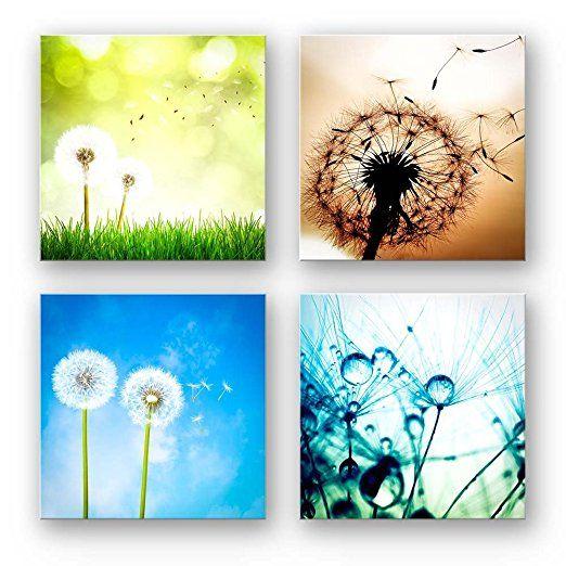 Pusteblume Set A schwebend, 4-teiliges Blumen Bilder - Bilder Blumen