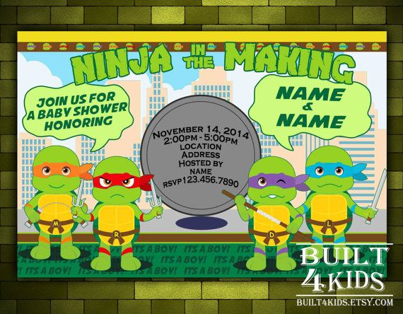 teenage mutant ninja turtles baby shower invitation by built4kids, Baby shower invitations
