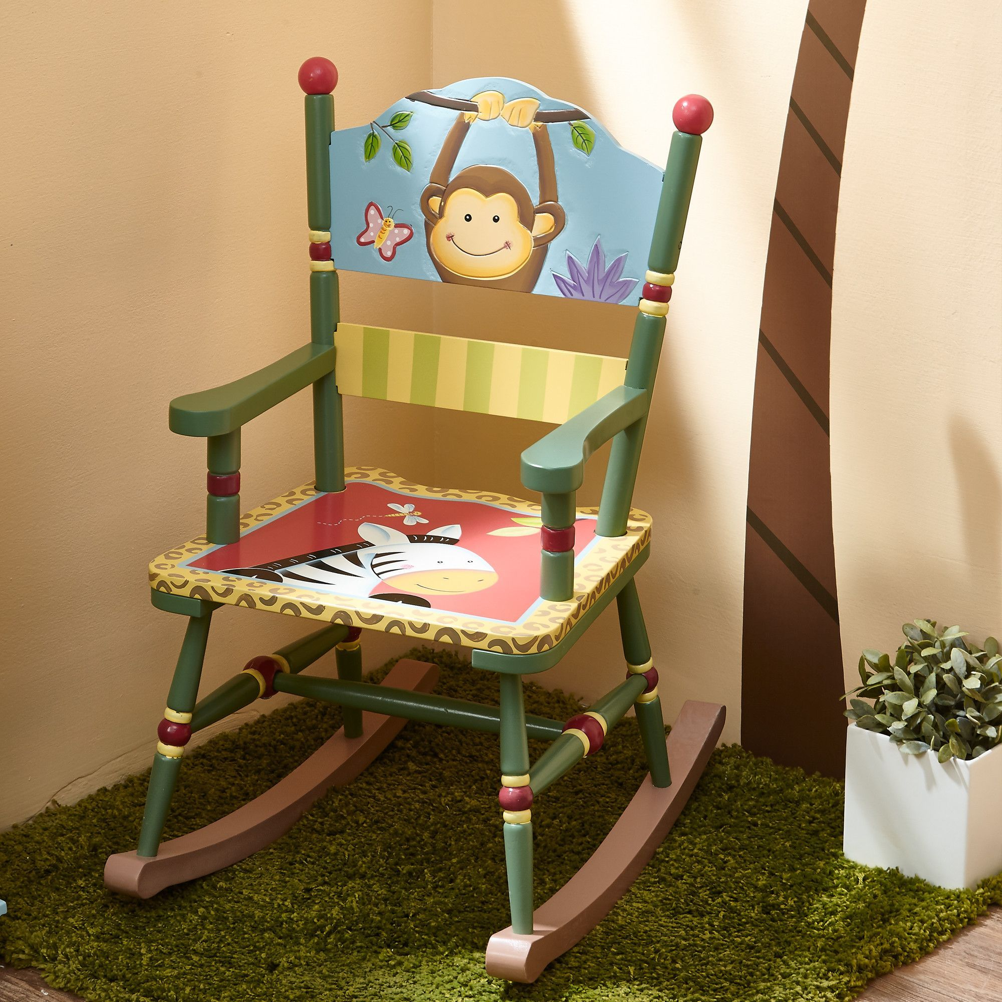 Features:  Hand Painted And Hand Carved Design With Durable Wooden  Construction And Non  · Kids Rocking ChairsHand ...