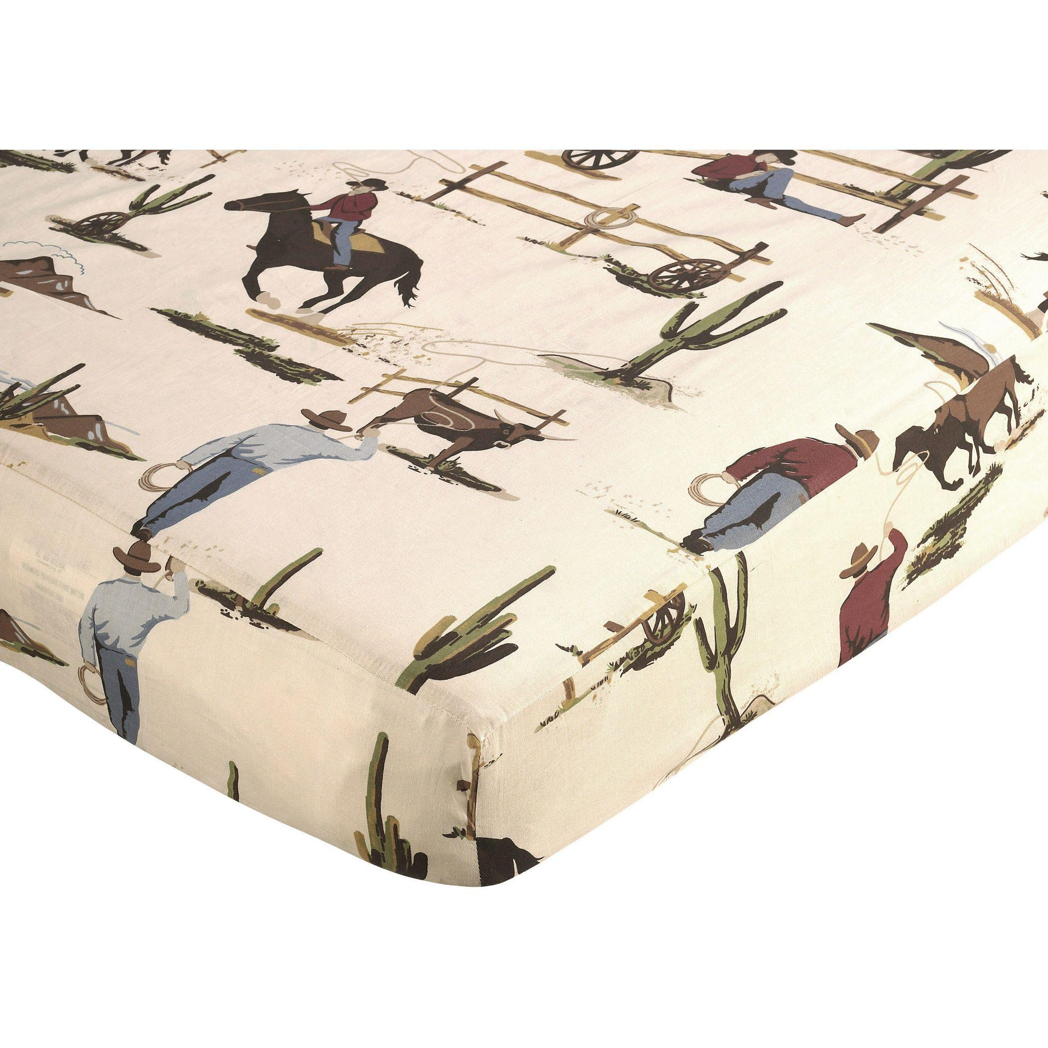 Sweet Jojo Design Wildwest Western Crib Toddler Fitted Sheet-Cowboy Print Cotton