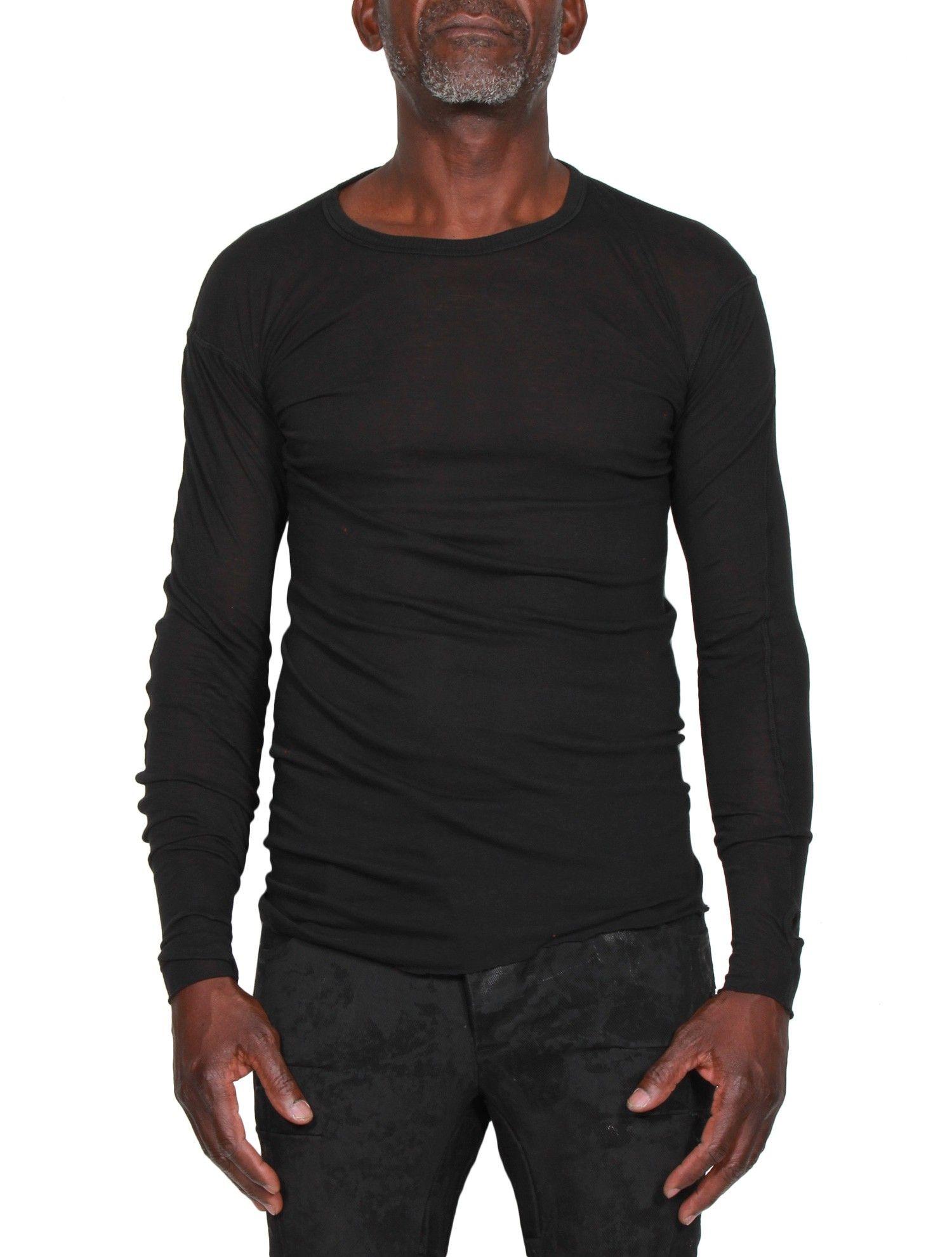 0e29e61280fa7 Tee-shirt Homme BORIS BIDJAN SABERI Manches Longues Mitaines - Noir - serie      NOIRE