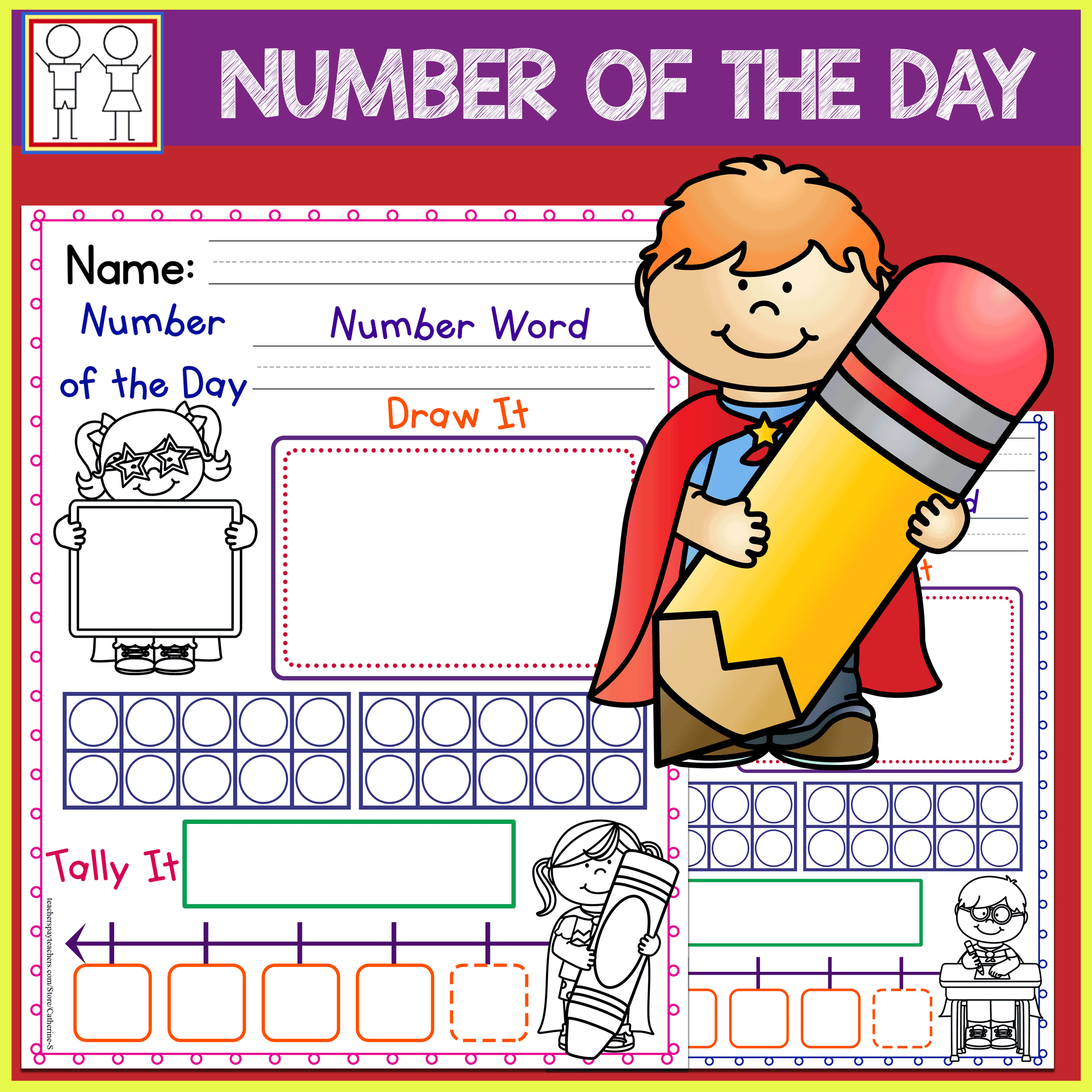 Number Of The Day Worksheets Superhero Theme