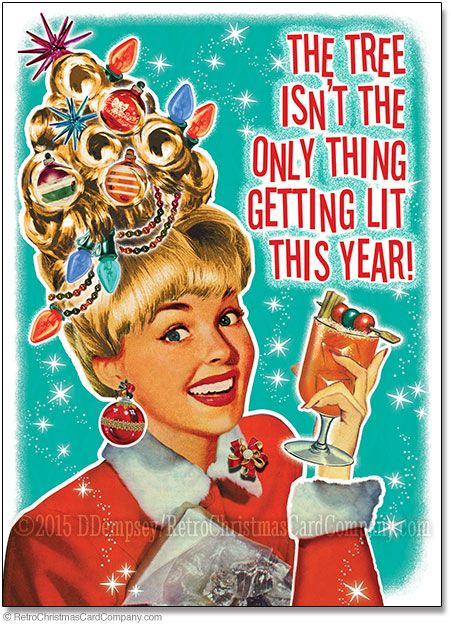 Funny Getting Lit Christmas Cards Package Of 8 Retro