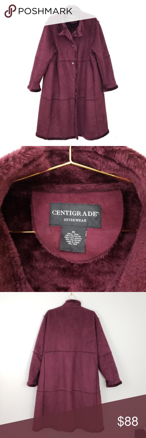 Centigrade Outerwear Oxblood Faux Shearling Coat Faux Shearling Coat Shearling Coat Vintage Jacket [ 1740 x 580 Pixel ]
