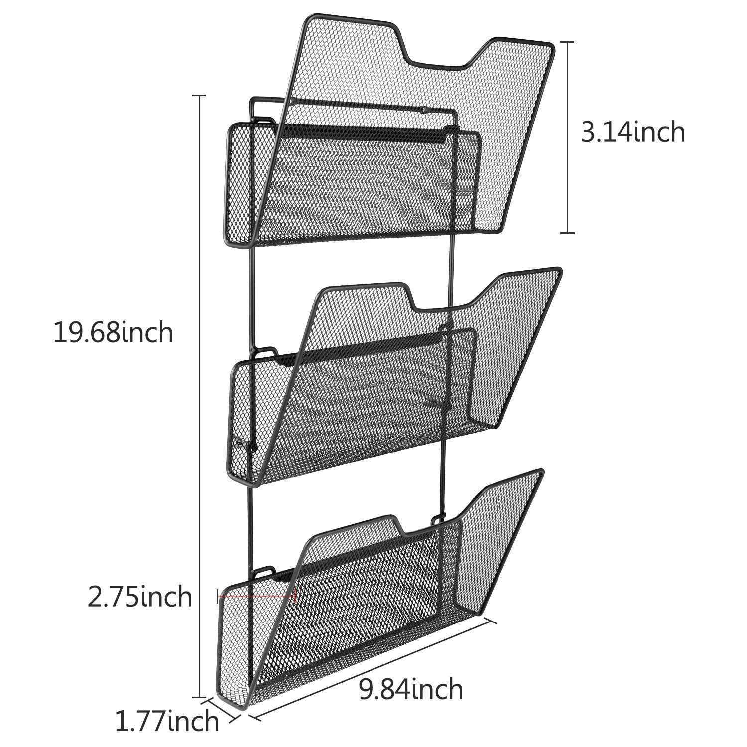 Amazon Com Samstar 3 Tier Hanging Wall File Organizer Metal Mesh Wall Mounted Document Holder For Office Ho Folder Holder Wall File Organizer File Organiser