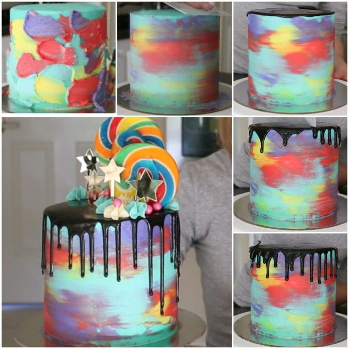 Ice Your Cake In The Color Of Your Choice Smear Some Patches Of Colored Icing Around The Cake Take Your Ser And Smooth In One Direction