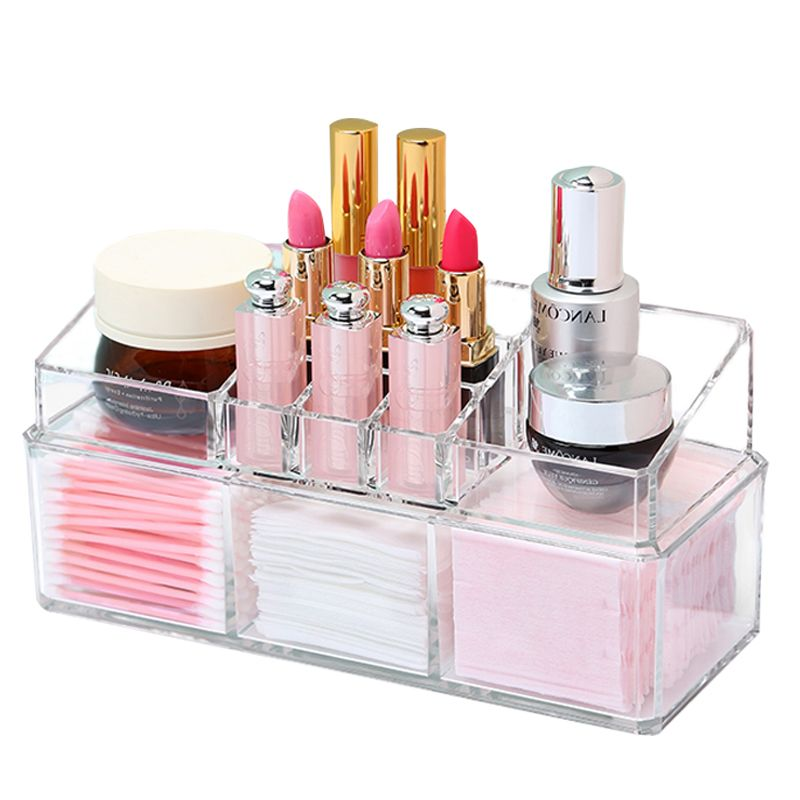 2 Piece Set Acrylic Makeup Organizer Jewelry Cosmetic Stackable