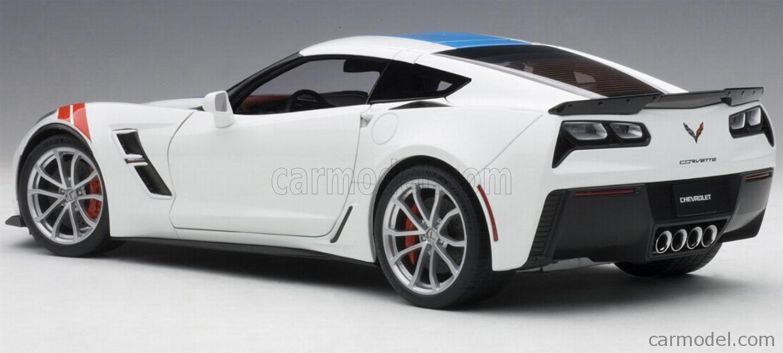 Autoart 71271 Scale 1 18 Chevrolet Corvette Grand Sport 2017 White With Blue Stripes Corvette Grand Sport Corvette Grand Sport 2017 Chevrolet