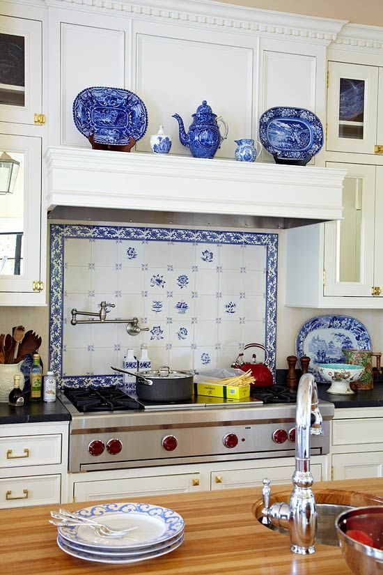 My Favorite Is A White Kitchen. Love The Use Of The Blue White Delft Tiles