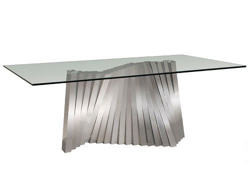 Ultra Modern Glass Desk Or Conference Table With Funky Stainless - Ultra modern glass dining table