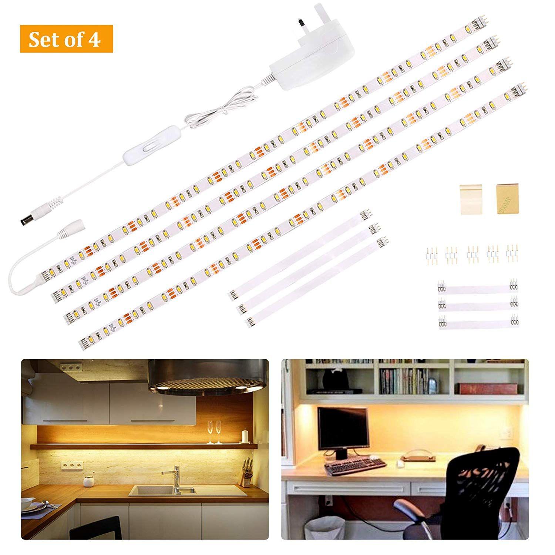 Wobane Under Cabinet Lighting Kit Flexible Led Strip Lights Bar
