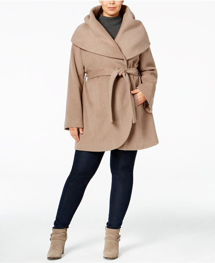 915ca68a138 T Tahari Plus Size Marla Wrap Coat Tahari s plus size wrap coat is  fashioned with an oversized shawl collar and a short silhouette that looks  perfectly ...