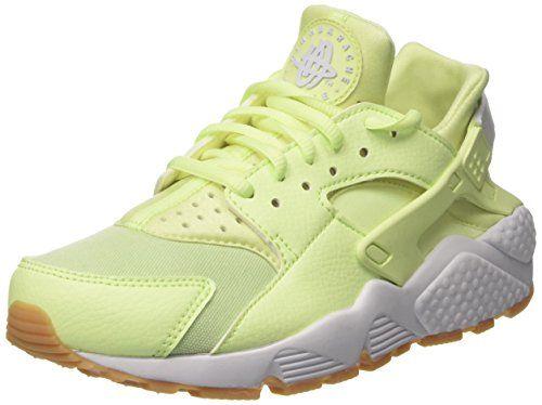 Nike Wmns Air Huarache Run, Entrenadores para Mujer, Verde (Barely Volt/White/Gum Yellow), 36.5 EU