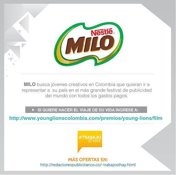 #TrabajoSíHay Milo nos presenta el último pase a La Costa Azul para un #YoungLionsCo. - http://www.younglionscolombia.com/premios/young-lions/film … pic.twitter.com/cfEDEJWMbT
