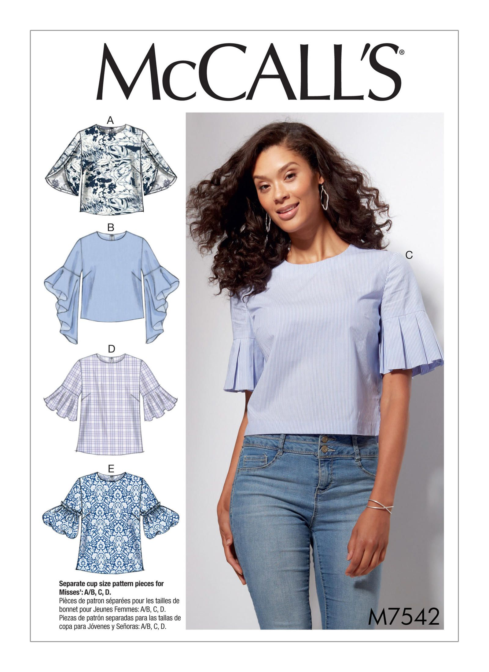 McCall's 7542 Misses' Tops with Trumpet, Tulip, Pleated or Bubble Sleeves  sewing pattern