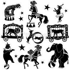 Detaljerte dyr og vogner