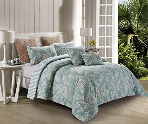 100% Polyester Tropical Palm Tree Bed Set (1 Comforter/Qu...