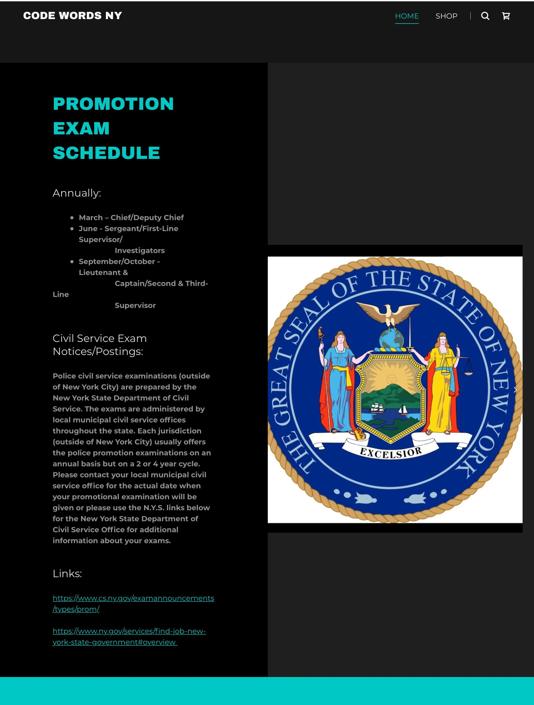 Schedule of Police promotion examinations in New York State