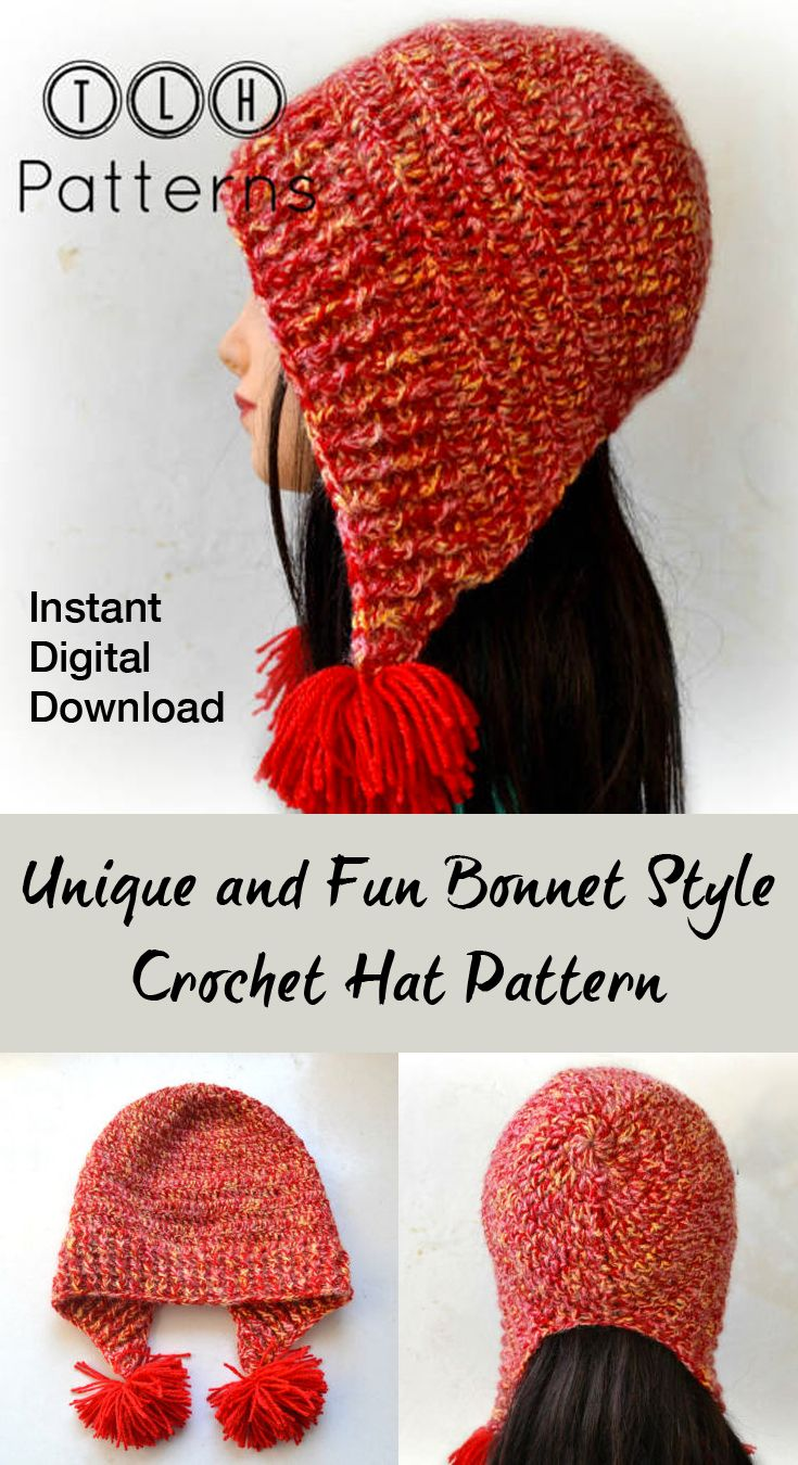 Fun bonnet style hat pattern. Hat has ear flaps to keep your ears ...