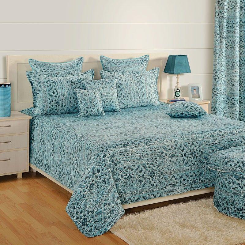 Get designer blue wave cotton bed sheet online in india
