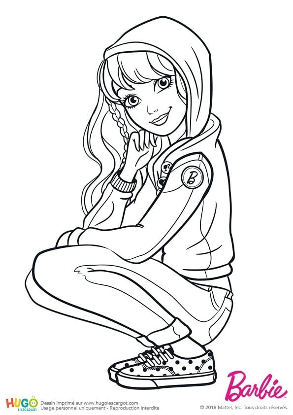 Coloriage et illustration barbie fashionistas tenue de - Barbie a colorier ...