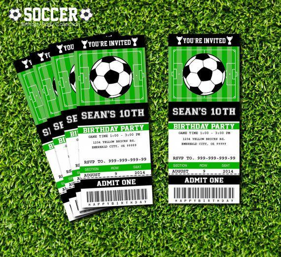 soccer birthday party invitation ticket