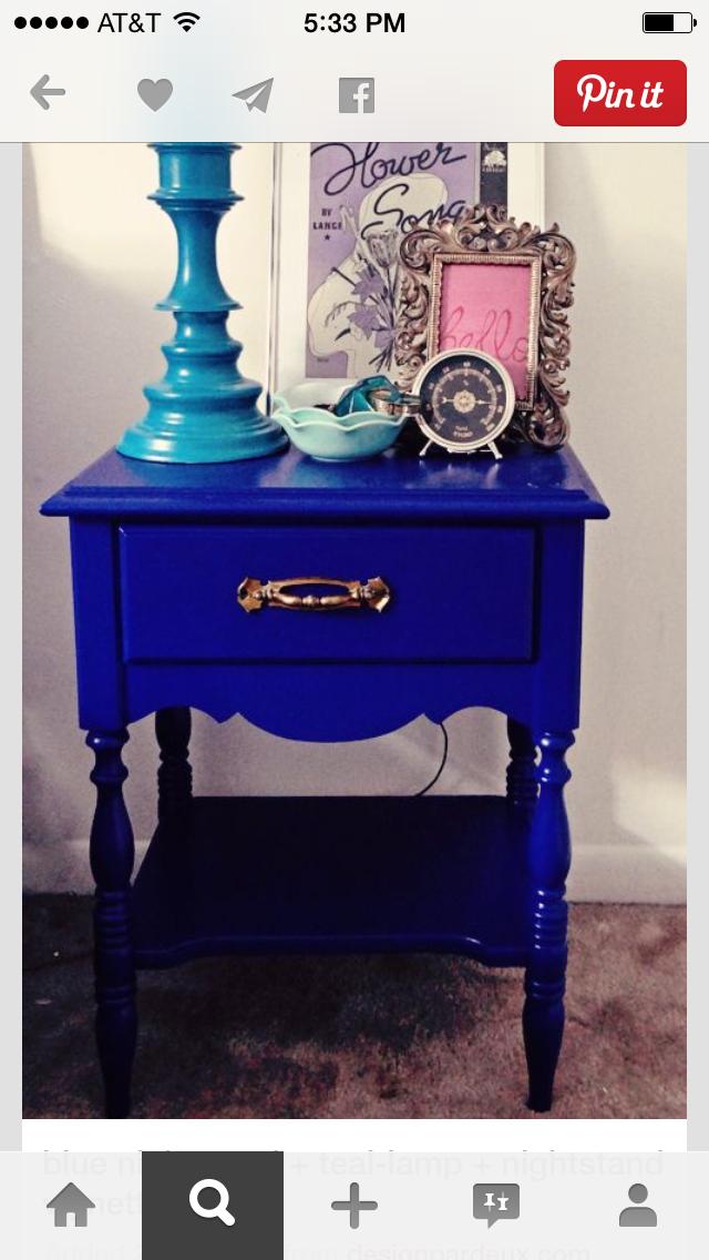 Blue Nightstand + Teal Lamp + Nightstand Vignette Hmm Like These Colors