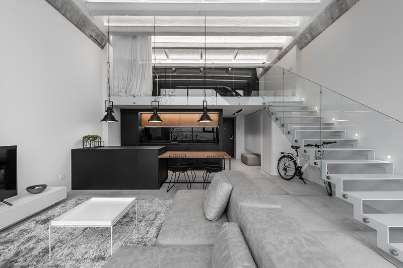 A Lithuanian Loft Interior With A Monochrome And Wood Material Palette #loftdesign