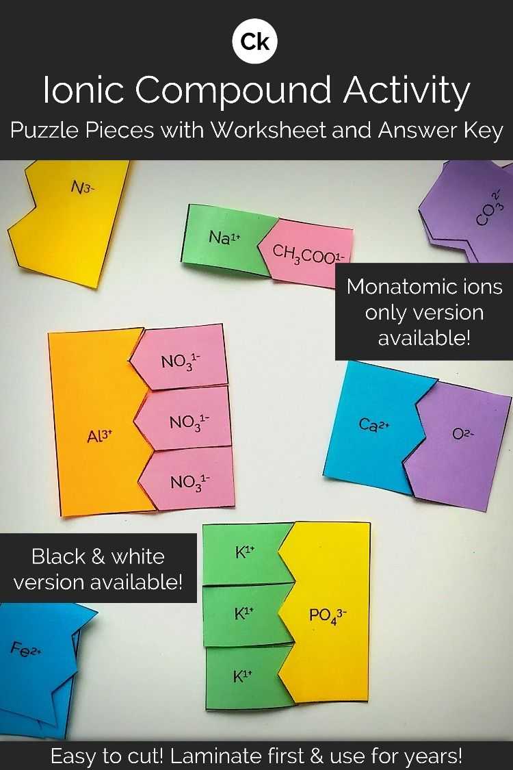 ionic puzzle piece activity answers key