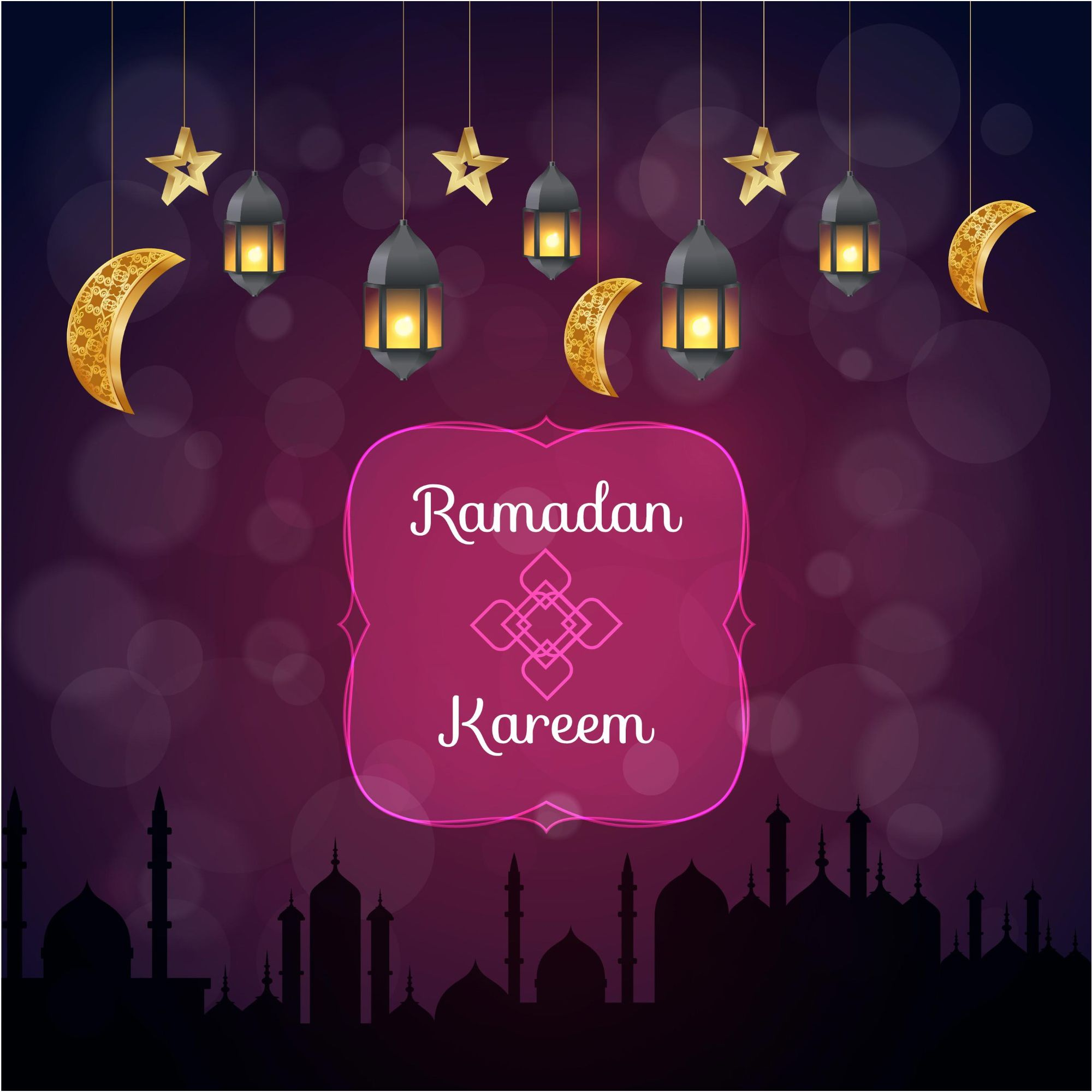 Ramadan Kareem Cute Greeting Card Vector & Wallpaper http://www.cgvector.com/50-vector-graphics-eid-greeting-card-and-wallpaper/