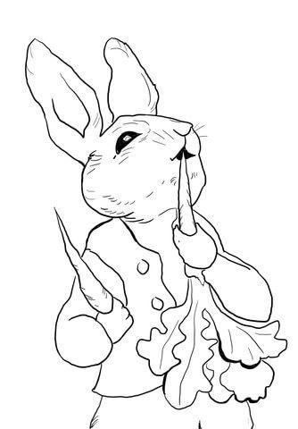 Peter Rabbit Eating Radishes Coloring Page Free Printable Coloring Pages Bunny Coloring Pages Peter Rabbit Illustration Rabbit Colors
