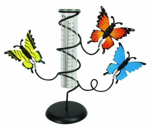 Toland Home Garden 210601 Butterfly Rain Gauge by Toland Home Garden. $22.45. Fun butterfly design adds personality to your garden!. Easy to read rain gauge (udometer) accurately measures up to 7 inches (17 cm) of rainfall. Tabletop design features a sturdy base for easy and reliable display on a patio or deck. Painted finish is weather resistant and can last season after season. Rain gauge vail measures in both inches and centimeters. The Butterfly Tabletop Rain Gauge...