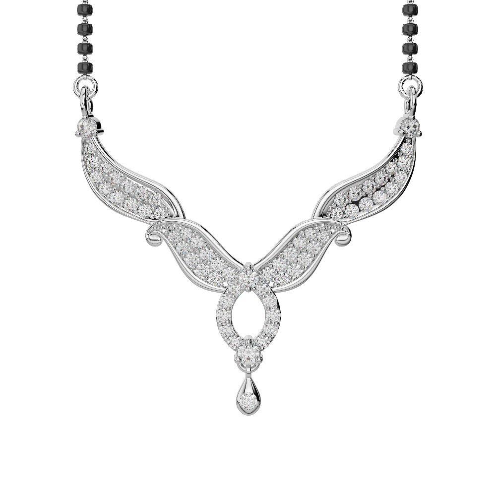 White Gold Diamond Mangalsutra Necklace DNC-2239 : AG & Sons Uk Ltd