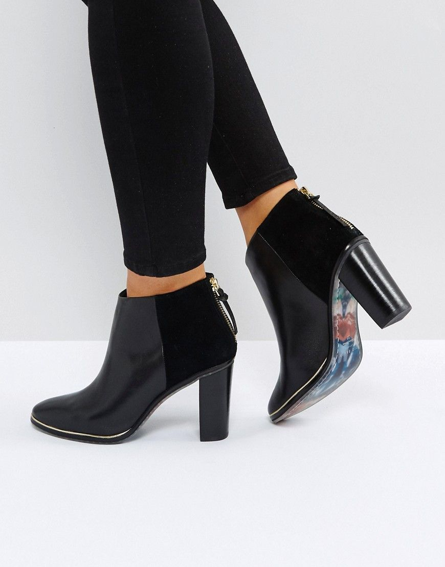 ce2905650904 Ted Baker Azaila Black Leather Heeled Ankle Boots in 2019 | Shoes ...