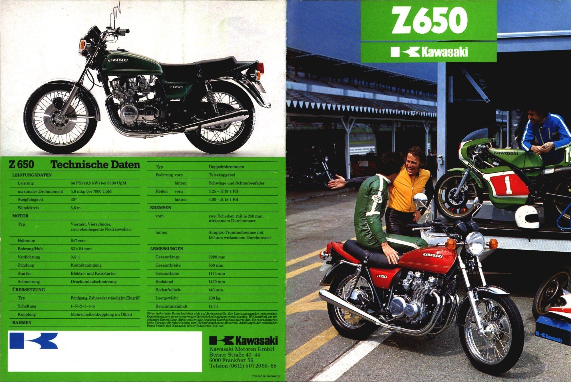 Kz650 Info Kawasaki Kawasaki Motorcycles Car Ads