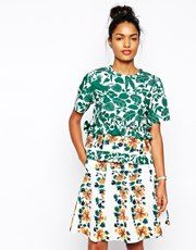 Sportmax Code Top in Floral Print with Ruffles