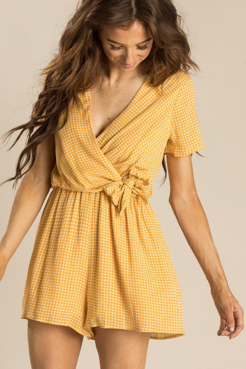 894dd62ac4 Renee Yellow Gingham Romper - Morning Lavender