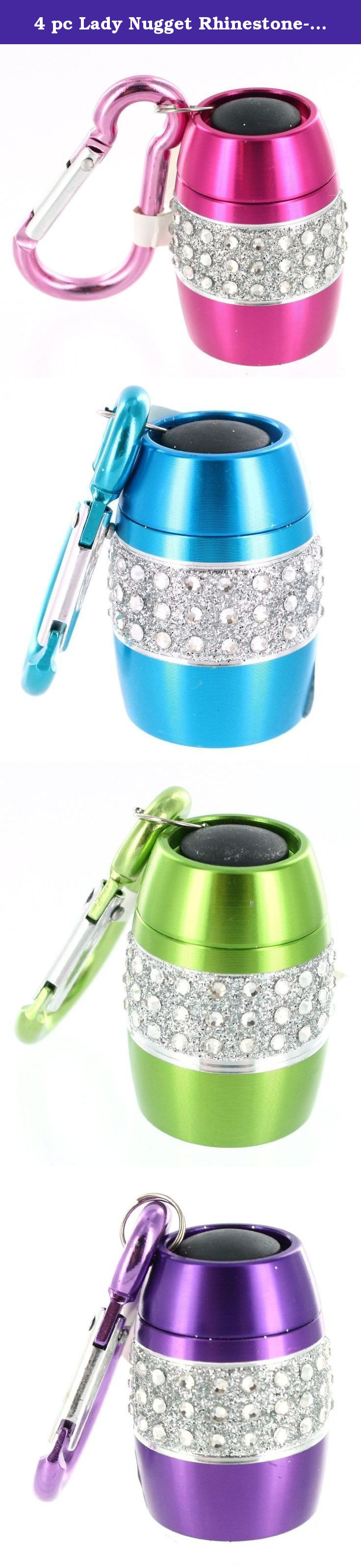 4 pc Lady Nugget RhinestoneEncrusted Mini Flashlight