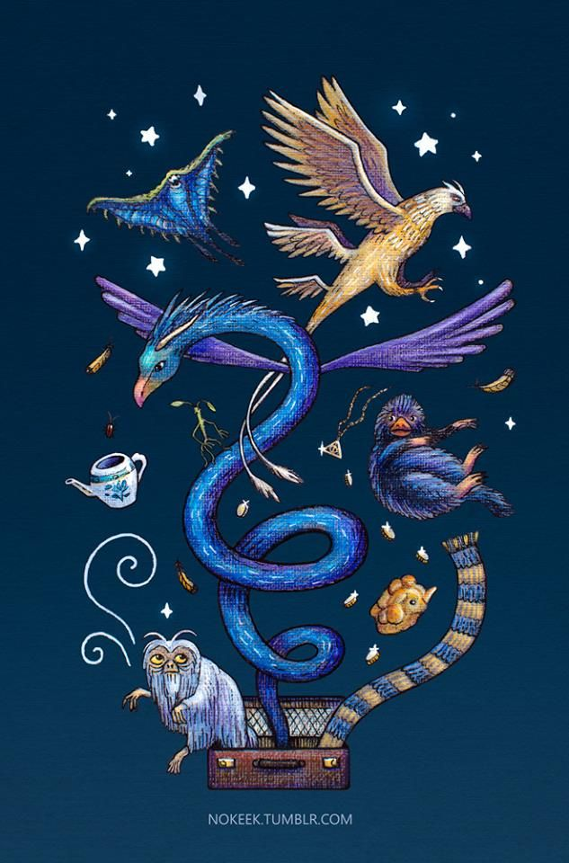 Art by nokeek.tumblr.com) | Animales fantásticos pelicula, Animales  fantasticos, Arte de harry potter