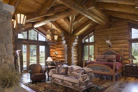 Handcrafted Log Home Bedroom Log cabin bedrooms, Log cabins and Cabin