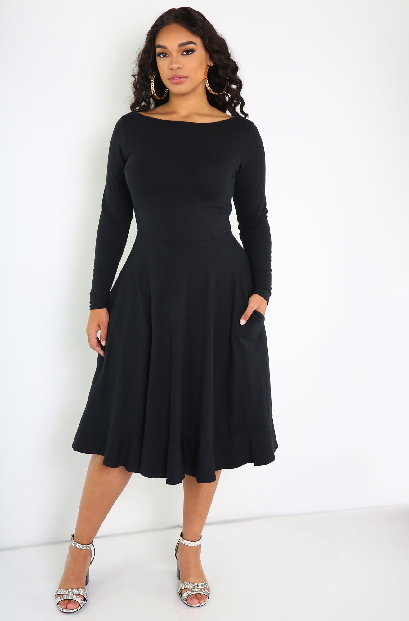 Rebdolls Skater Midi Dress With Pockets Plus Size Black Dresses Dresses Midi Dress [ 2000 x 1318 Pixel ]