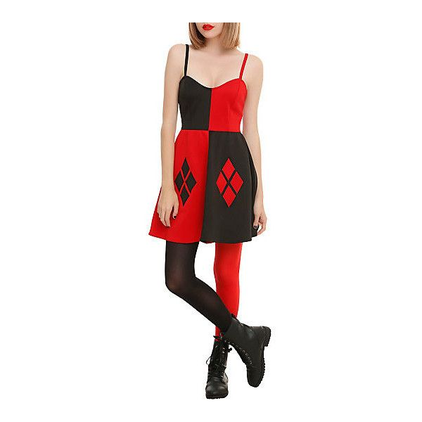 DC Comics Harley Quinn Costume Dress Hot Topic ($25) ❤ liked on Polyvore featuring costumes, harley quinn halloween costume, dc comics halloween costumes, dc comics costumes and harley quinn costume
