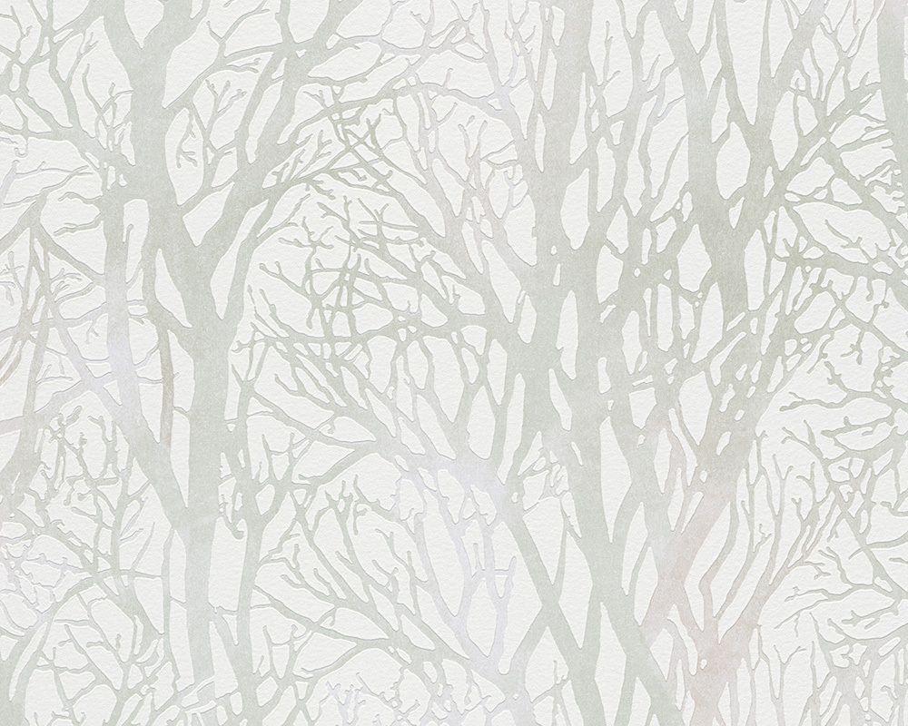 a.s. création tapete 300942: tapete, grün, metallics, weiß, natur, Moderne deko