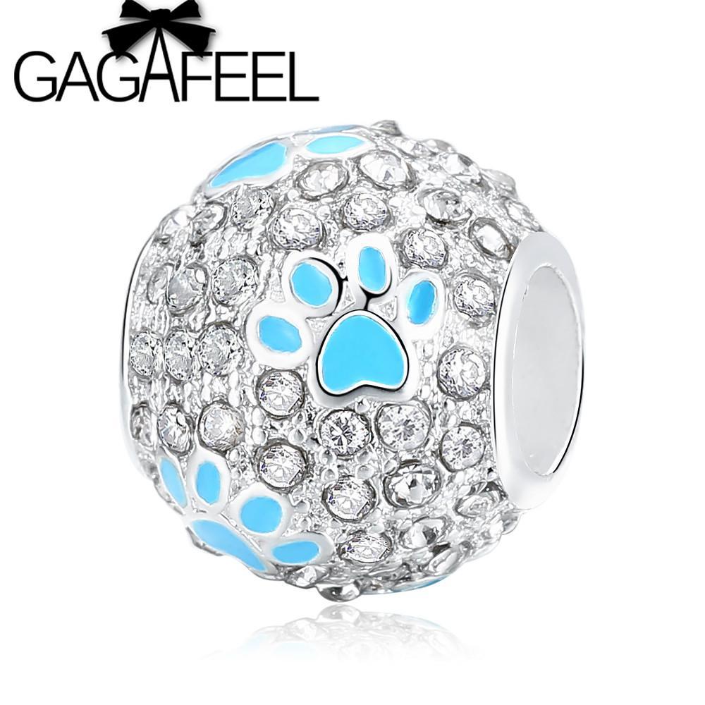 Clear crystal footprint bead fit pandora necklace bracelet diy cute