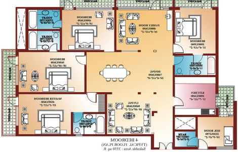 4 Bedroom House Plans floorplan preview 4 bedroom worthington house 4 Bedroom House Plans