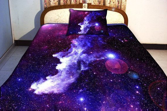 two sides printing galaxy twin quilt cover galaxy bed sheets   Galaxy bedding set two sides printing galaxy twin quilt cover galaxy bed sheets with two matching galaxy pi...