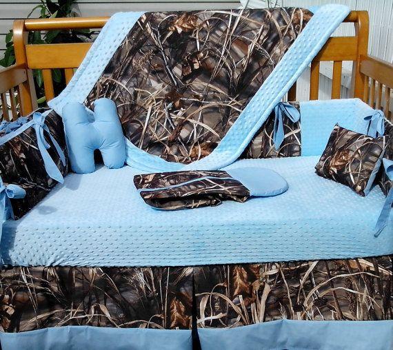 Camo Baby Blue Crib Bedding, Realtree Max 5 Bedding Set