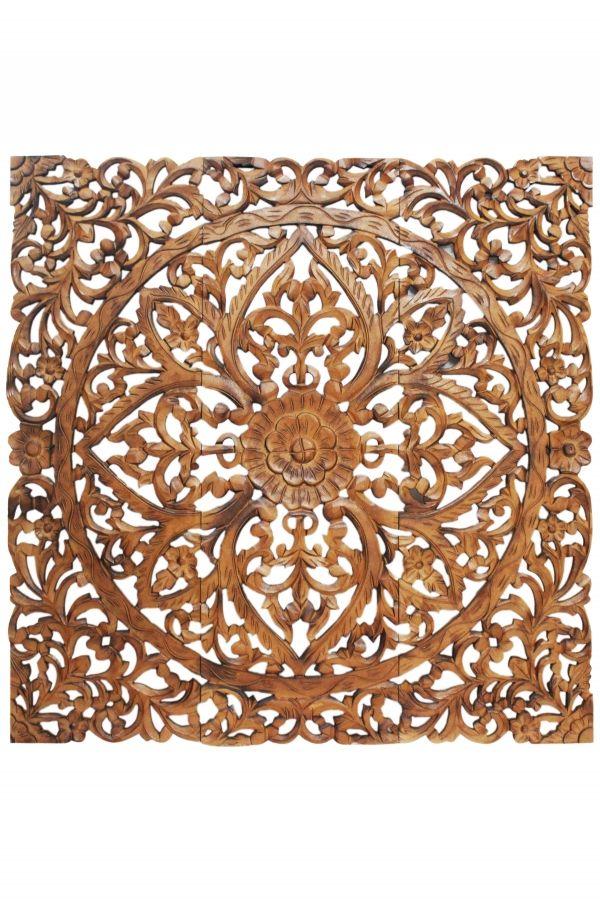 Holz Wanddeko Rajab 120cm gross XXL - Dunkelbraun | Orientalische Dekoration