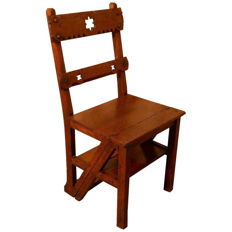 Arts Crafts Metamorphic Kitchen Chair And Library Steps Kitchen Chairs Chair Arts And Crafts