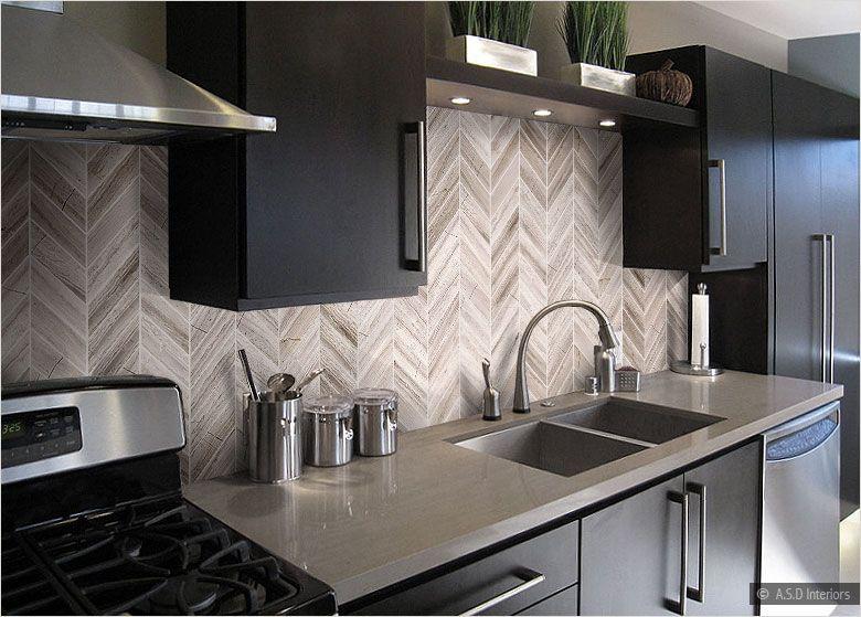 Brown countertop cabinet modern marble backsplash tile rental kitchen makeover pinterest - Modern kitchen tiles hd ...